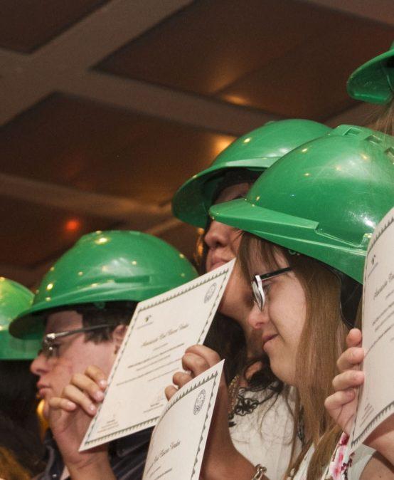 Green helmets